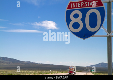 Interstate 80 road sign in northeast Nevada, USA. - Stock Photo