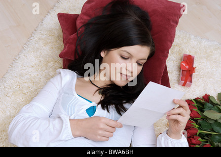 love red gift box with roses and blank paper card heart and lock stock photo 166192231 alamy. Black Bedroom Furniture Sets. Home Design Ideas