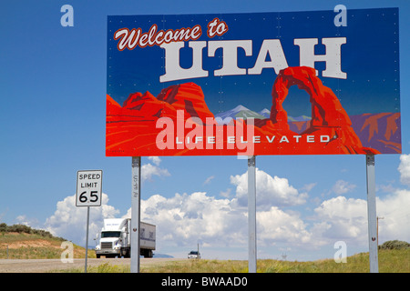 Welcome to Utah road sign along U.S. Route 491 east of Montecello, Utah, USA. - Stock Photo