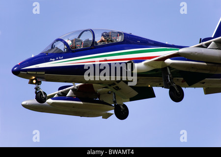 Aermacchi MB-346 of the Italian Frecce Tricolori display team on approach for landing at Fairford RIAT - Stock Photo