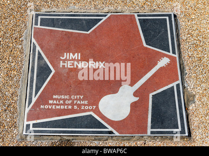 Jimi Hendrix star in the Music City Walk of Fame Park, Nashville, Tennessee, USA - Stock Photo