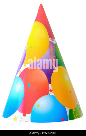 party hat isolated on white cut out - Stock Photo