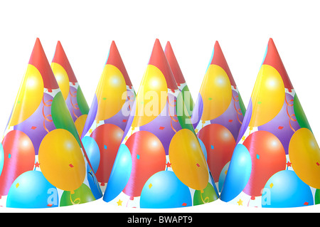 group of party hats isolated on white / cut out - Stock Photo