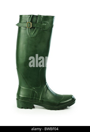 Green rubber boot - Stock Photo