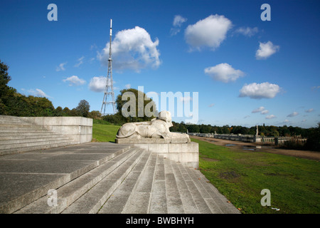 Stone sphinx standing on the remains of the old Crystal Palace in Crystal Palace Park, Sydenham, London, UK - Stock Photo