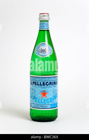 Drinks, Cold, Water, Glass bottle of Pellegrino sparkling mineral water against a white background. - Stock Photo