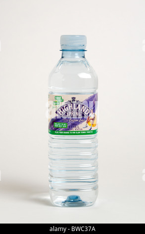 Drinks, Cold, Water, Plastic bottle of Highland Spring still mineral water against a white background. - Stock Photo
