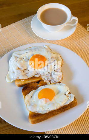 Food, Cooked, Meals, A breakfast table setting of two fried eggs on toast on a plate beside a cup of tea in a saucer. - Stock Photo