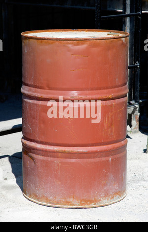 Industry, Oil, Storage, 500 litre oil drum in workshop. - Stock Photo