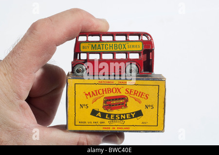 Original vintage 1954 2 1/4' Matchbox/Lesney model No.5 Routemaster London Bus and original box - Stock Photo