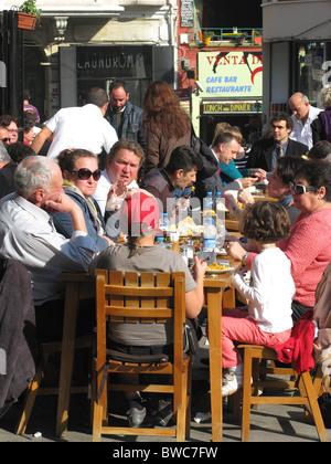 ISTANBUL, TURKEY. Alfresco dining in the Galata district of Beyoglu. 2010. - Stock Photo