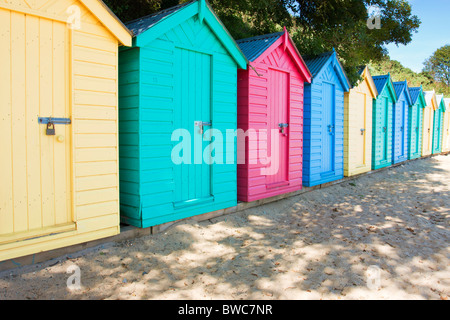 Llandbedrog Beach Huts - Stock Photo
