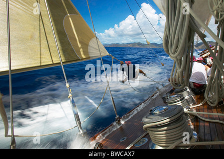 Crew member tripping the spinnaker during a race aboard J-Class 'Velsheda' at Antigua Classic Yacht Regatta 2005, - Stock Photo