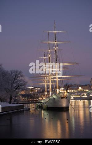AF Chapman in winter, Stockholm, Sweden - Stock Photo