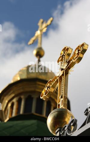 Cross on Saint Sophia cathedral in Kiev, Ukraine - Stock Photo
