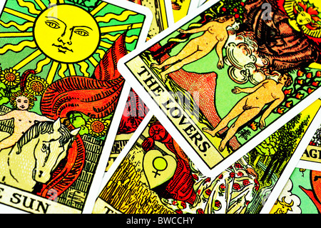 Fortune telling Tarot cards - Stock Photo
