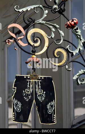 Jahn-Markl Lederhosen Shop Sign, Salzburg, Austria - Stock Photo