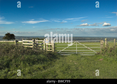 Footpath leading from the South Downs Way on Springhead Hill in the South Downs National Park. - Stock Photo