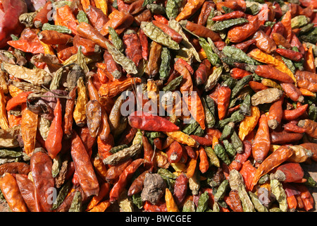 Colourful Chillies For Sale At The Key Afer Market, Omo Valley, Ethiopia - Stock Photo
