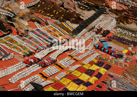 Colourful Bena Tribe Jewellery For Sale At The Key Afer Market, Omo Valley, Ethiopia - Stock Photo
