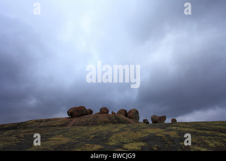 Boulders surrounding Cecil John Rhodes tomb on World's View (Malindidzimu Hill) in Matopo National Park, Zimbabwe - Stock Photo