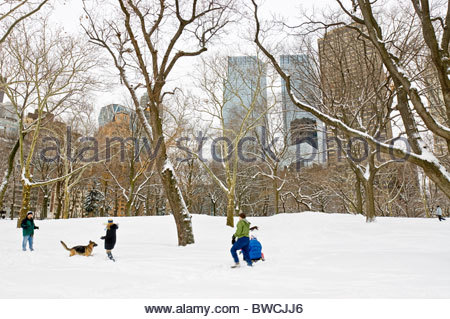 People Play in the Snow, Winter in Central Park - Stock Photo