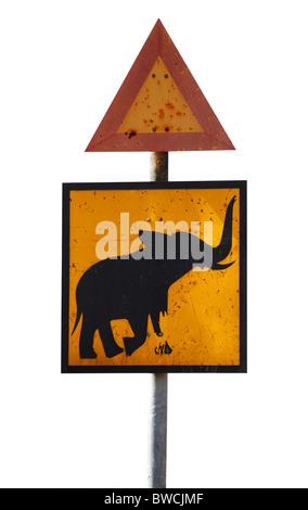 Street sign with elephant in Hwange National Park, Zimbabwe - Stock Photo