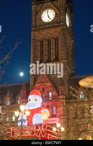 Father Christmas display, Manchester Town Hall,Albert Square.Christmas Market - Stock Photo