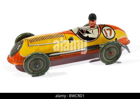 Wind up metal tin plate racing car produced by Mettoy in the 1950's - Stock Photo