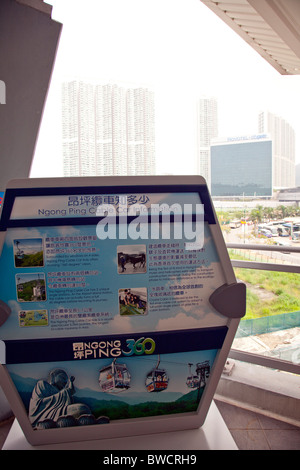 Detail of sign at Hong Kong, Lantau's Ngong Ping 360 cable car ride - Stock Photo