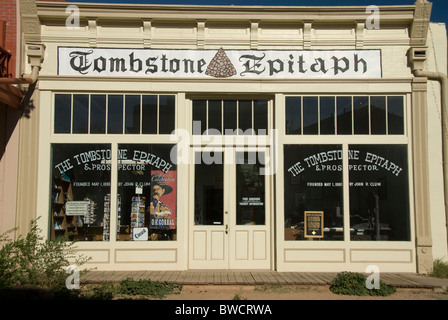 Tombstone Epitaph building; office of oldest continuously published newspaper in Arizona, in old silver mining town - Stock Photo