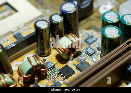 close up of the motherboard inside of a pc desktop computer stock photo royalty free image. Black Bedroom Furniture Sets. Home Design Ideas