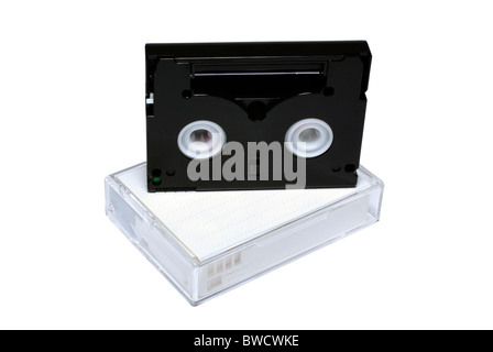Two mini-dv cassettes isolated on white background. - Stock Photo