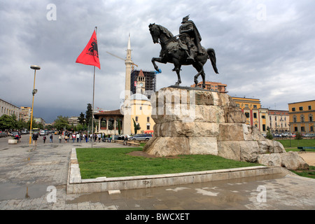 Monument to Skanderbeg, Skanderbeg square, Tirana (Tirane), Albania - Stock Photo