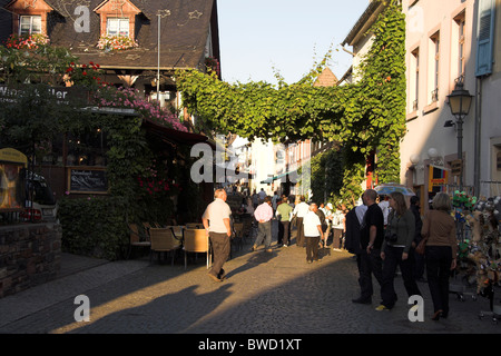 Busy street full of tourists, Oberstrasse, Old Town, Rudesheim, Germany - Stock Photo
