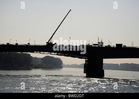 Nibelungen Bridge restoration, Worms, Germany - Stock Photo