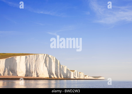 Sunset at Seven Sisters; East Sussex; England, Great Britain - Stock Photo