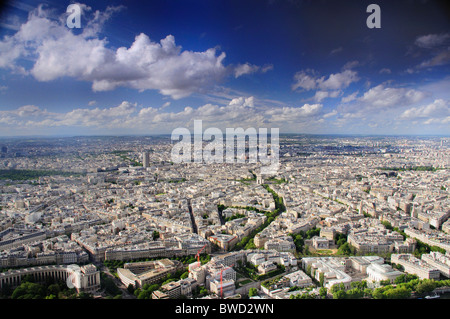 View North from Eiffel Tower in Paris showing Arc de Triomphe in the centre - Stock Photo