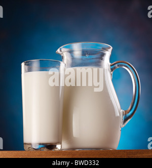 Glass and jar of milk on a white background. - Stock Photo
