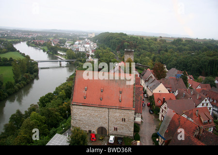 View over the river and rooftops of Bad Wimpfen, from the Blauer Turm, Blue Tower, Germany - Stock Photo