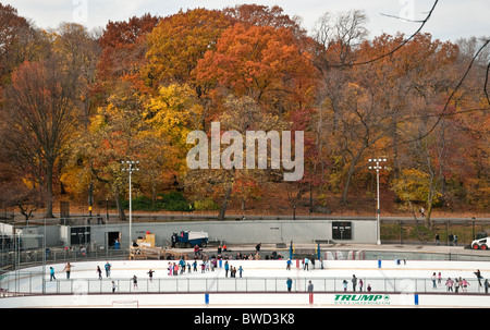 Lasker Ice Skating Rink in Central Park, NYC - Stock Photo