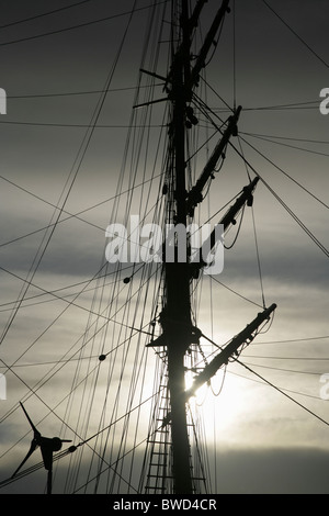 Modern wind turbine and mast of the Royal Research Ship 'Discovery' . Dundee, Tayside, Scotland. - Stock Photo