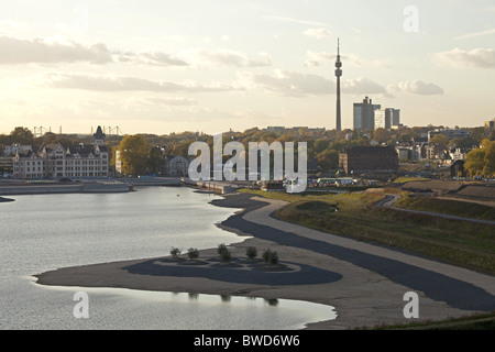 construction area of artificial  Lake Phoenix in Dortmund , Ruhr Area, Germany - Stock Photo