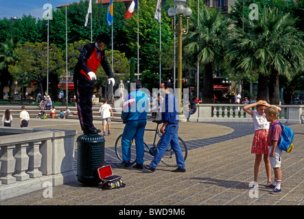 French people, person, mime, street artist, performing, Place Massena, city of Nice, French Riviera, Cote d'Azur, - Stock Photo