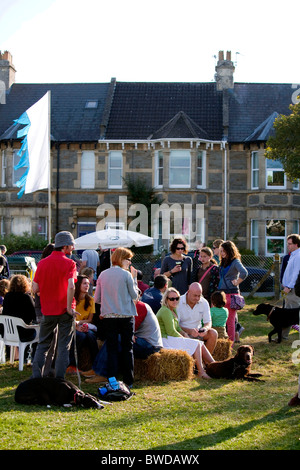 A community village party of residents celebrates Combe Down from falling into the old underground stone mines. - Stock Photo