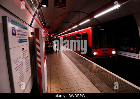 A Docklands Light Railway DLR train at Bank station, London, England, UK - Stock Photo