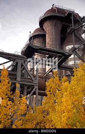 abandoned industrial complex Landschaftspark Duisburg-Nord in Germany - Stock Photo