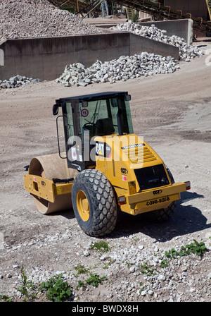 CAT Caterpillar Steamroller at Aggregates Plant, Armentarola, Italy - Stock Photo