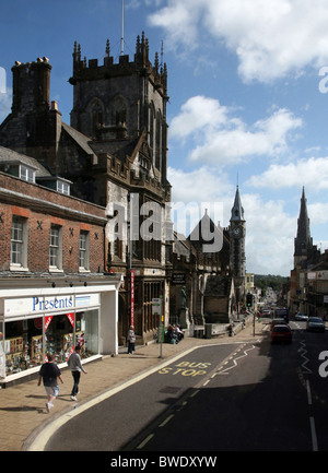 Dorchester - Looking east down High West Street, view shows Dorchester Museum, St Peter's Church and The Corn Exchange - Stock Photo