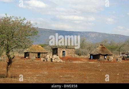 Swazi Homestead, Swaziland, South Africa - Stock Photo